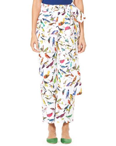 Bird-Print Straight-Leg Poplin Pants w/ Self-Tie Belt