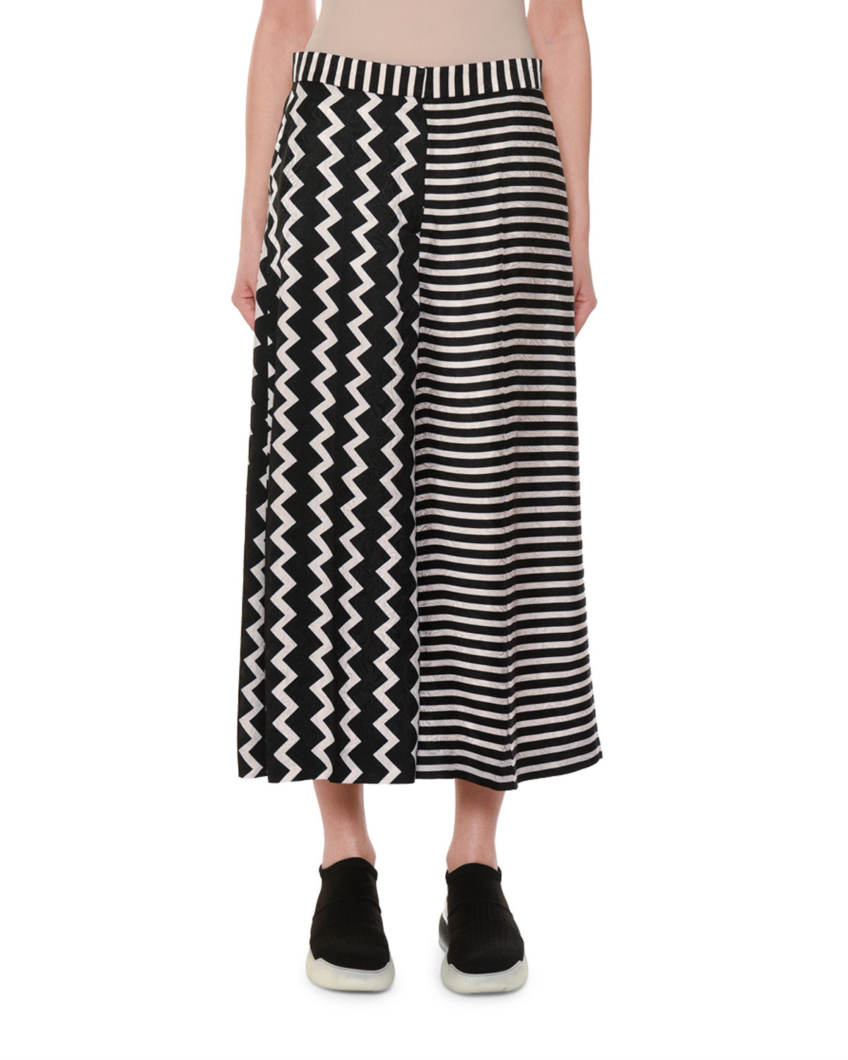 Zigzag & Stripe Mixed-Print Wide-Leg Silk Culotte