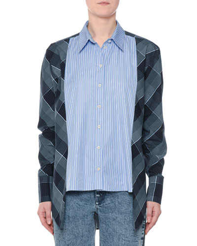 Plaid & Striped Mixed-Print Button-Down Oxford Shirt