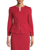Emporio Armani Milano Jersey Knee-Length Pencil Skirt, Red