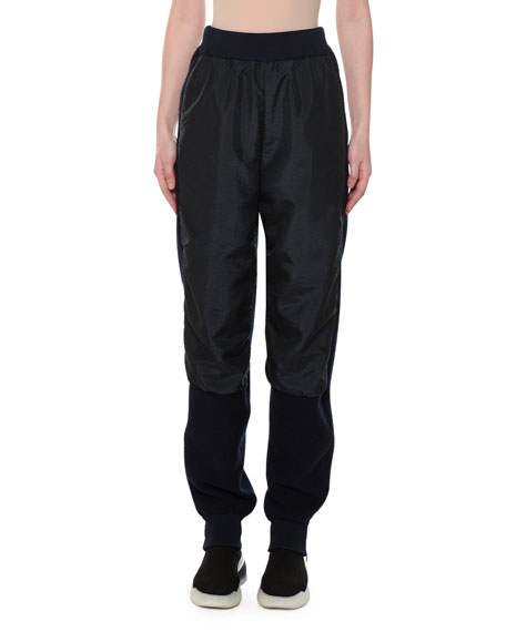 Stella McCartney Wool-Back Nylon-Front Jogger Pants