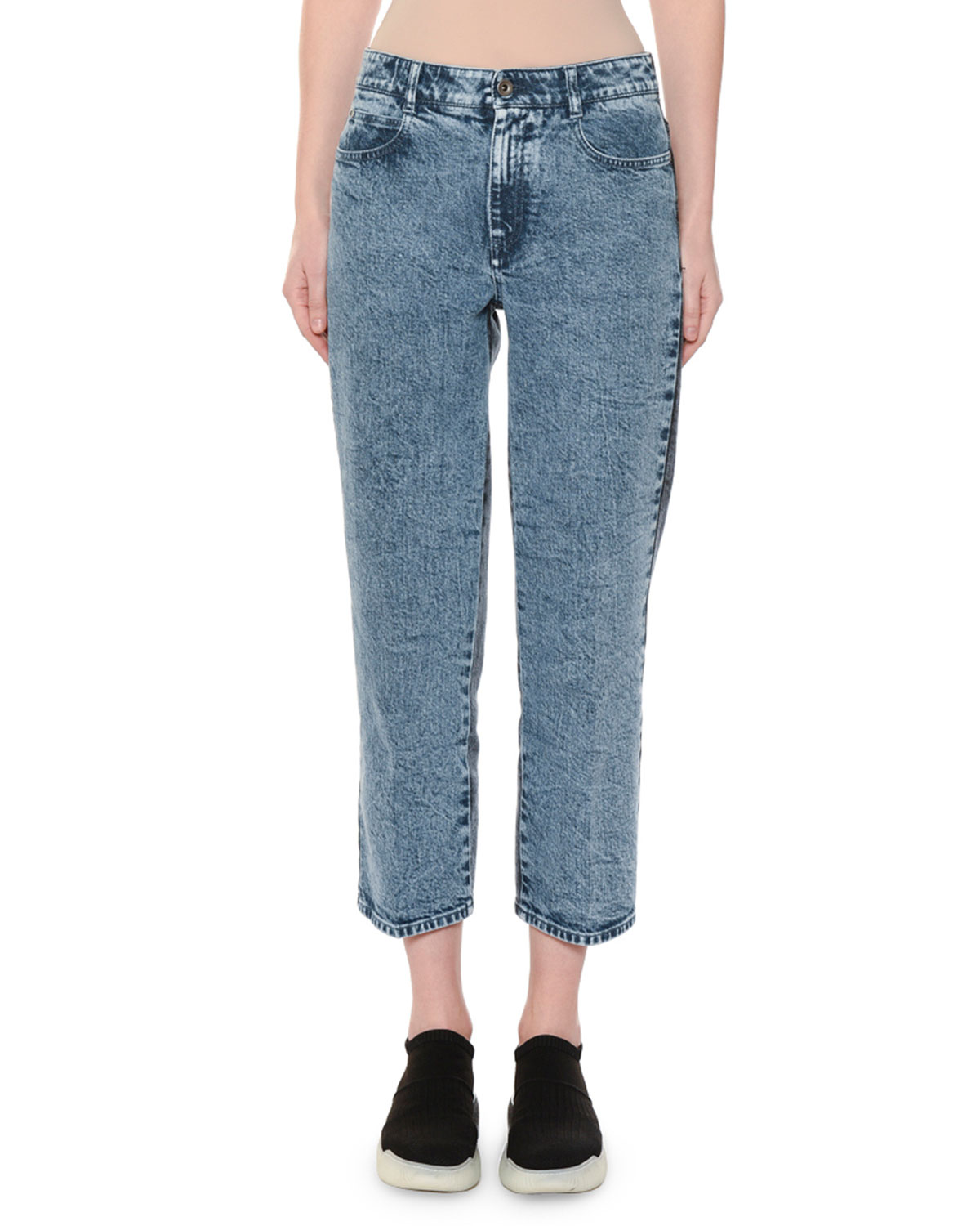 High-Rise Straight-Leg Two-Tone Cropped Jeans