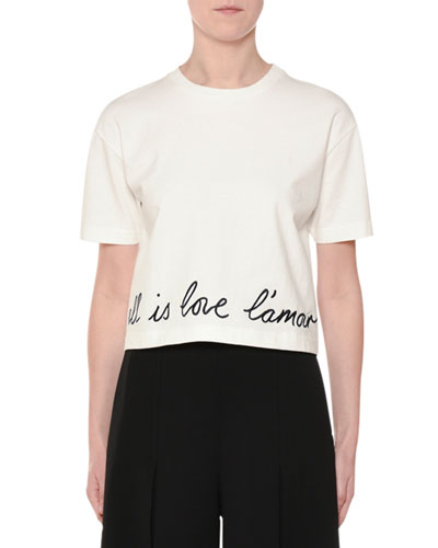 Love is Love Short-Sleeve Crop T-Shirt with Script-Embroidery
