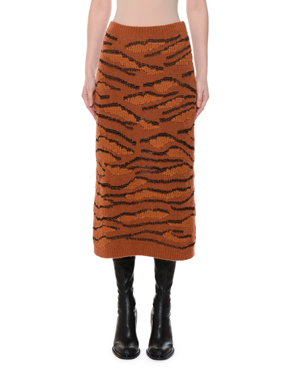 Animal-Intarsia Slim Fitted Pull-On Midi Skirt, Multi Pattern