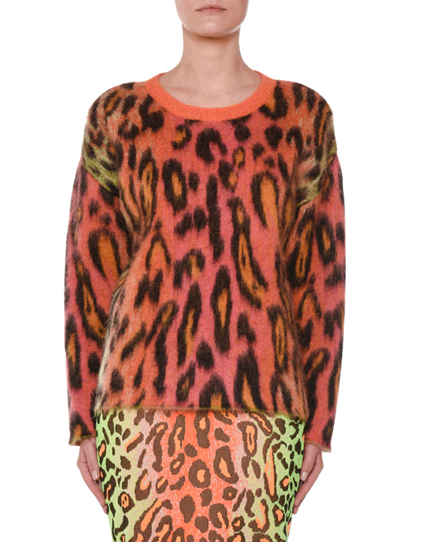 Animal-Print Oversized Neon Mohair Pullover Sweater