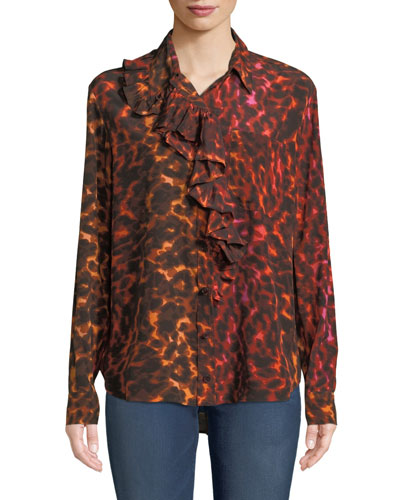 e57542b9c4e02 Quick Look. Stella McCartney · Ruffle-Placket Neon Animal-Print Silk Blouse