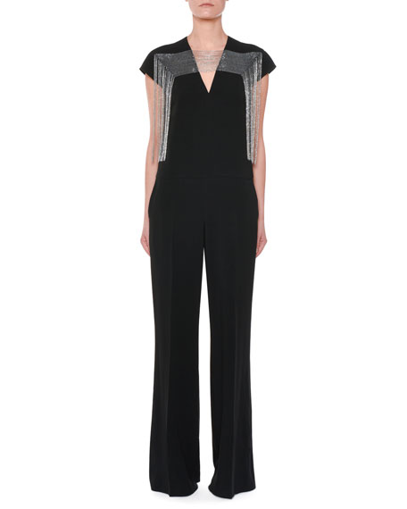 Stella McCartney Cap-Sleeve Multi-Chain Yoke Wide-Leg Jumpsuit