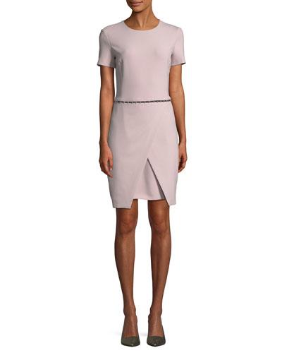 Short-Sleeve Round-Neck Faux-Wrap Dress w/ Studded Trim