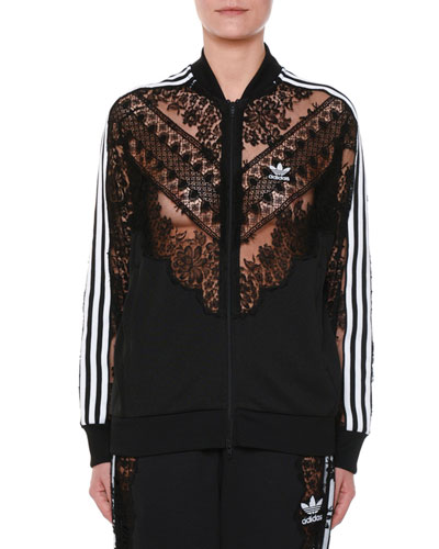 Zip-Front Sweatshirt Jacket w/ Lace Inset