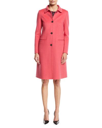 Button-Front Classic Cashmere Coat w/ Martingale Strap