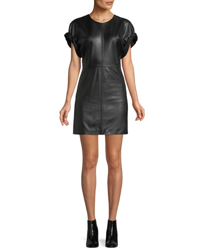 Crewneck Short-Sleeve Lamb Leather Mini Dress
