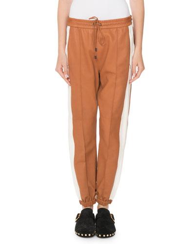 Coy Drawstring Leather Jogger Pants