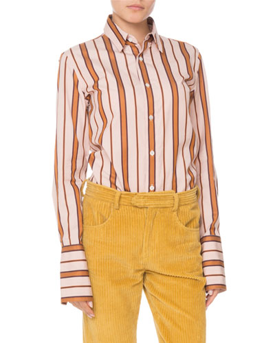 f453e563a50c44 Quick Look. Isabel Marant · Uliana Button-Front Long-Sleeve Striped Blouse