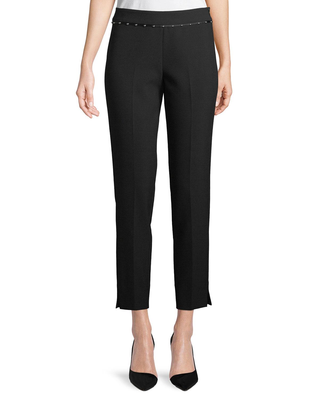 Stretch-Jersey Straight-Leg Crop Pants w/ Beaded Ribbon Trim