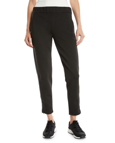 Tapered-Leg Jogger Pants w/ Satin Trim