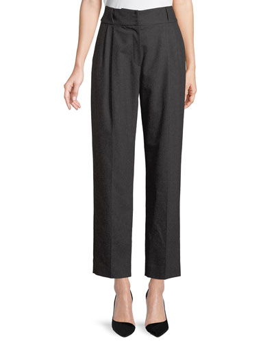 High-Waist Tapered Wool-Cashmere Flannel Pleated Pants