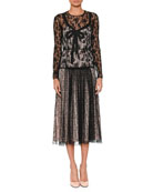 Long-Sleeve Round-Neck Allover Lace Dress w/ Bow Detail & Contrast Lining