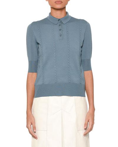 Short-Sleeve Vertical Crisscross Wool Polo Top