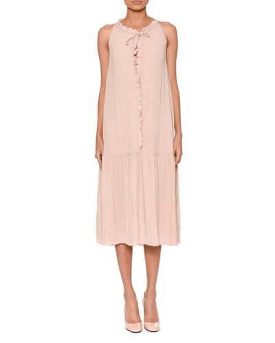 Sleeveless Tie-Neck Ruffled-Front Shift Dress w/ Rope Belt