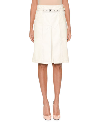 A-Line Inverted-Pleat Lamb Leather Knee-Length Skirt with Belt