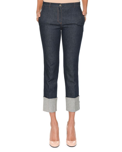 Slim Straight-Leg Jeans w/ Leather Intrecciato Trim and Deep Cuff