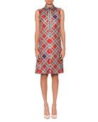 Sleeveless Button-Placket Irregular Check-Print Silk Skimmer Dress