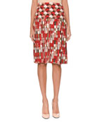 Geometric & Round-Print Knife-Pleat Silk Knee-Length Skirt