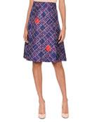 Pleated-Front Irregular Check-Print Knee-Length Silk Skirt