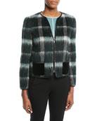 Zip-Front Plaid Mohair Jacket w/ Velvet Pockets