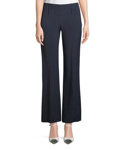 Side-Zip Straight-Leg Melange Pants