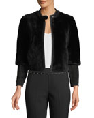 Emporio Armani Cropped Shearling Fur Zip-Front Jacket w/