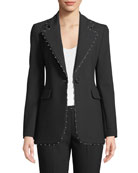 One-Button Stretch-Jersey Blazer w/ Beaded Ribbon Trim