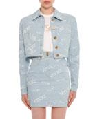 Button-Front Cropped Denim Jacket
