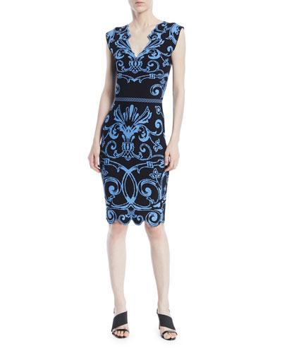 V-Neck Sleeveless Baroque-Intarsia Knit Dress