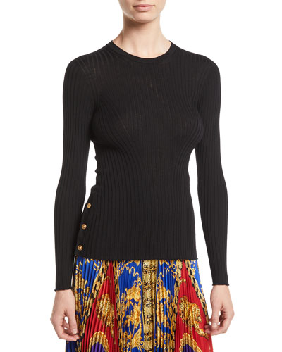 Crewneck Long-Sleeve Ribbed-Knit Top w/ Button Detail