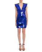 Plunging Sleeveless Sequin Mini Dress