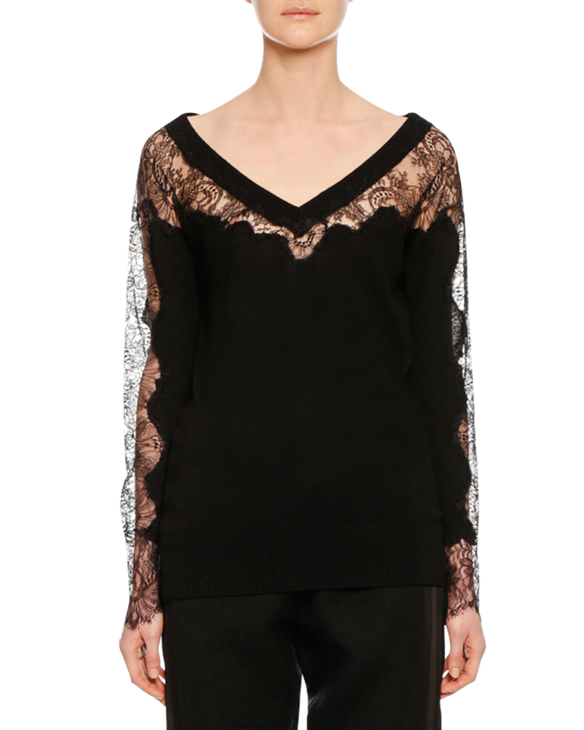 V-NECK LONG-SLEEVE LACE-INSET WOOL SWEATER from Neiman Marcus