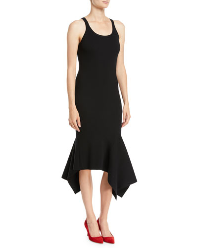 Scoop-Neck Sleeveless Merino Wool Tank Dress w/ Handkerchief Hem