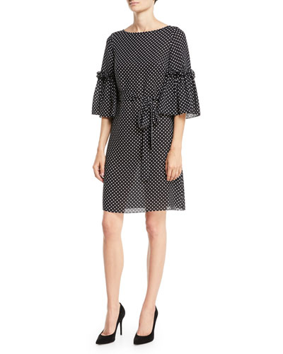 Boat-Neck Bell-Sleeve Polka-Dot Silk Georgette Shift Dress