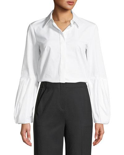 Puff-Sleeve Button-Down Stretch Cotton Poplin Shirt