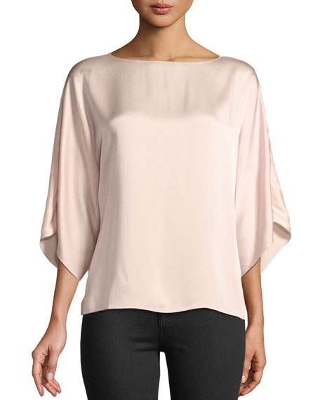 Michael Kors Collection Boat-Neck Satin Charmeuse Top