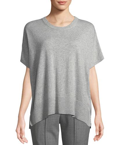 Crewneck Short-Sleeve Melange Draped Cashmere Pullover