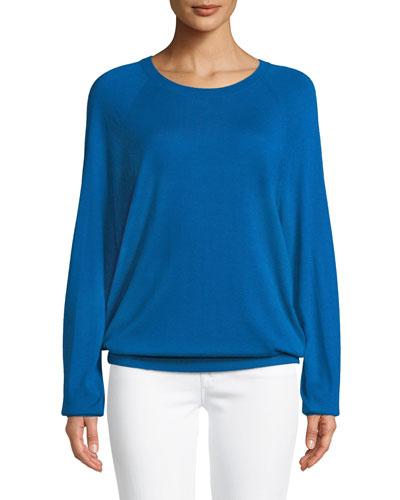 Round-Neck Long-Sleeve Merino/Cashmere Pullover