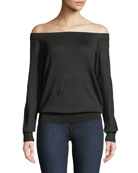 Michael Kors Collection Off-the-Shoulder Long-Sleeve