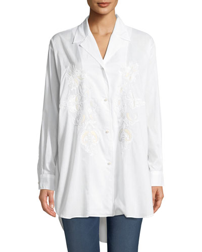 Long-Sleeve Button-Front Cotton Tunic Shirt w/ Embroidery