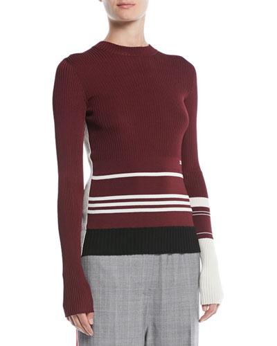 Crewneck Long-Sleeve Striped Knit Sweater