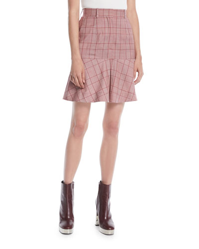 High-Waist Plaid Flared Wool Skirt