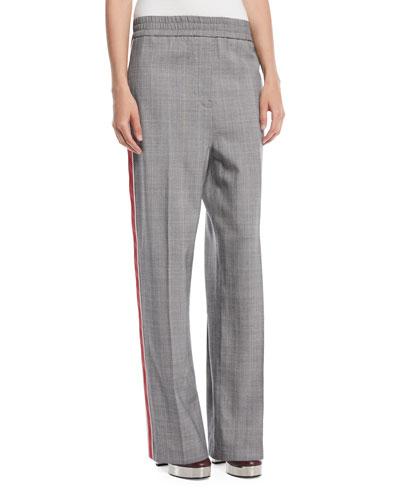 Wide-Leg Check Wool Pull-On Pants w/ Side Stripe