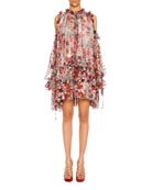 Alexander McQueen Cold-Shoulder Feather-Print Silk Fil Coupe