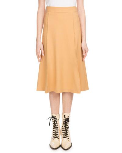 Mid-Calf A-Line Side-Zip Stretch-Wool Skirt
